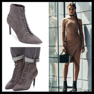kendall + kylie // liza lace up ankle booties gray
